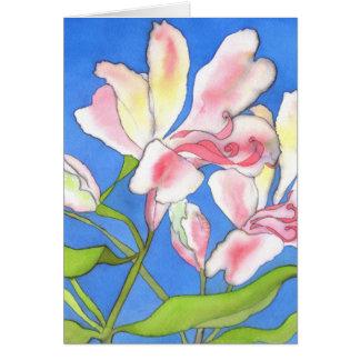 Tarjeta de felicitaciones rosada del Alstroemeria