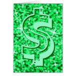 """Tarjeta de felicitaciones verde del dólar """"$"""" del"""