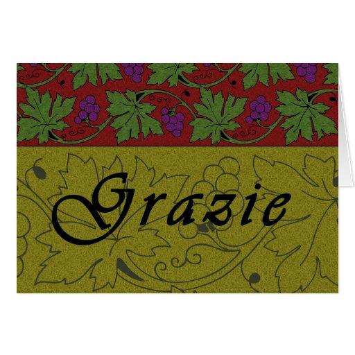Tarjeta de Grazie de las vides de uvas