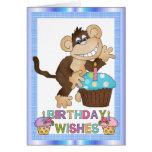 Tarjeta de Greetin del mono del cumpleaños