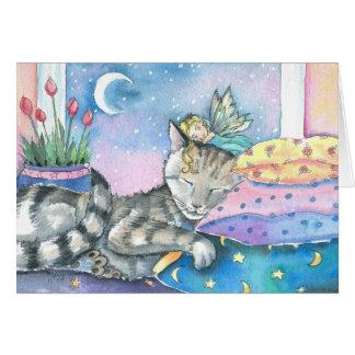 Tarjeta de hadas caprichosa del gato de Tabby por