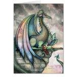 Tarjeta de hadas de la fantasía del dragón por