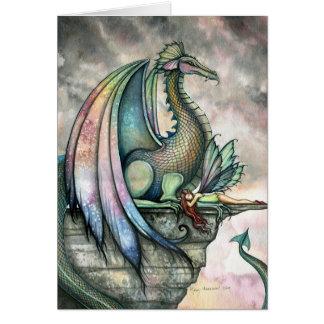 Tarjeta de hadas de la fantasía del dragón por Mol