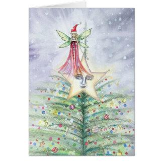 Tarjeta de hadas del árbol de navidad