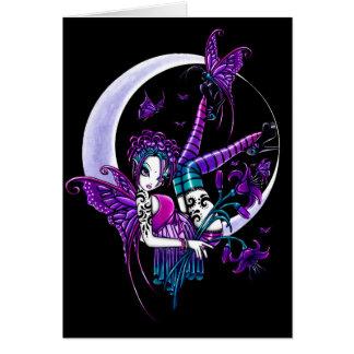 Tarjeta de hadas del arte de la luna de la maripos