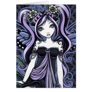 Tarjeta de hadas del arte de la mariposa violeta d