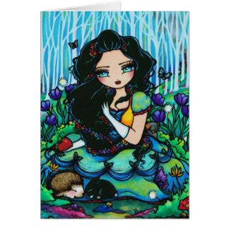 Tarjeta de hadas del arte del chica de la fantasía