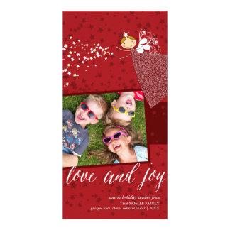 Tarjeta de hadas del día de fiesta del navidad de tarjeta personal con foto