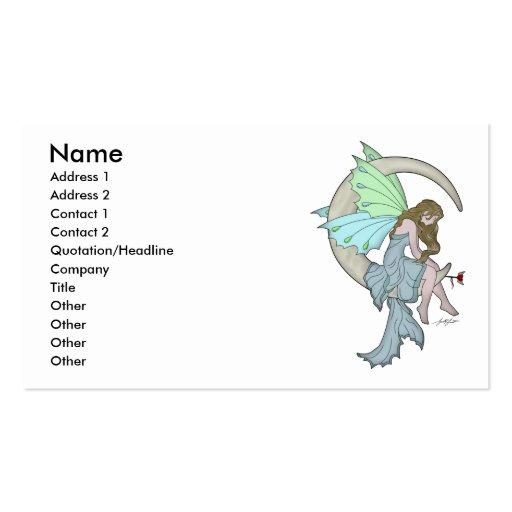 Tarjeta de hadas del perfil de la luna tarjeta de visita