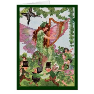 Tarjeta de hadas del vintage de la mariposa del