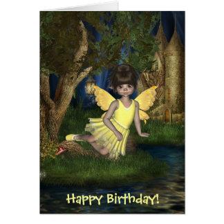 Tarjeta de hadas Elfin del feliz cumpleaños