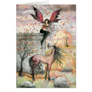 Tarjeta de hadas encantada del unicornio del otoño