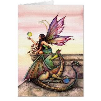 Tarjeta de hadas mística gótica del dragón por Mol