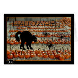 Tarjeta de Halloween con el gato negro