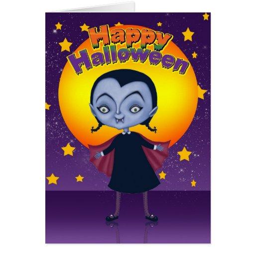 Tarjeta de Halloween con el pequeño chica del vamp