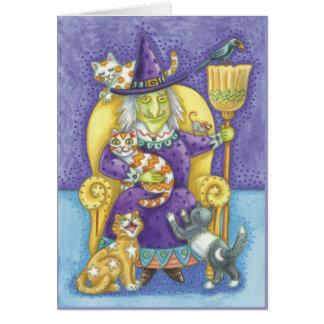 Tarjeta de Halloween con la bruja y las porciones