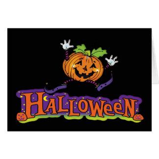 Tarjeta de Halloween con la calabaza alegre