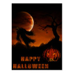 Tarjeta de Halloween con la calabaza y el espantap Postal