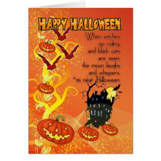 tarjeta de Halloween con los palos y las calabazas