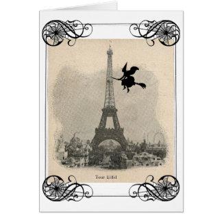 Tarjeta de Halloween de la bruja de París