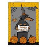 Tarjeta de Halloween de la bruja del Dachshund