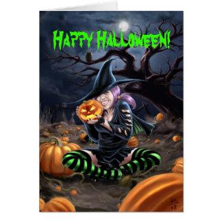 Tarjeta de Halloween de la bruja del vampiro