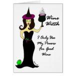 Tarjeta de Halloween de la bruja del vino