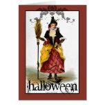 Tarjeta de Halloween de la bruja del vintage