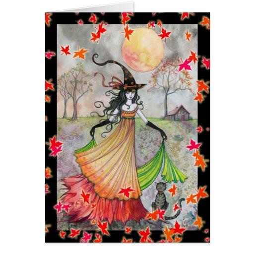 Tarjeta de Halloween de la bruja y del gato de la