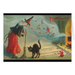 Tarjeta de Halloween de la bruja y del gato del Vi