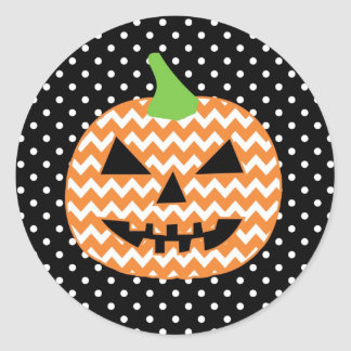 Tarjeta de Halloween de la Jack-O-Linterna Pegatina Redonda
