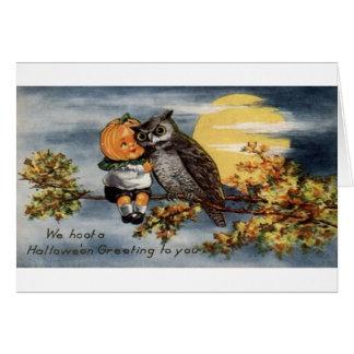 Tarjeta de Halloween de la Jack-O-Linterna y del b