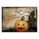 Tarjeta de Halloween de la linterna del o de la ca