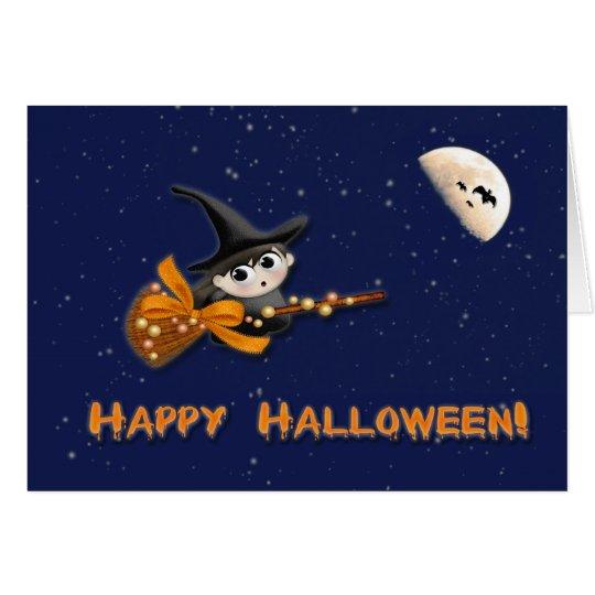 Tarjeta de Halloween de la luna de la bruja
