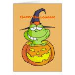 Tarjeta de Halloween de la rana verde