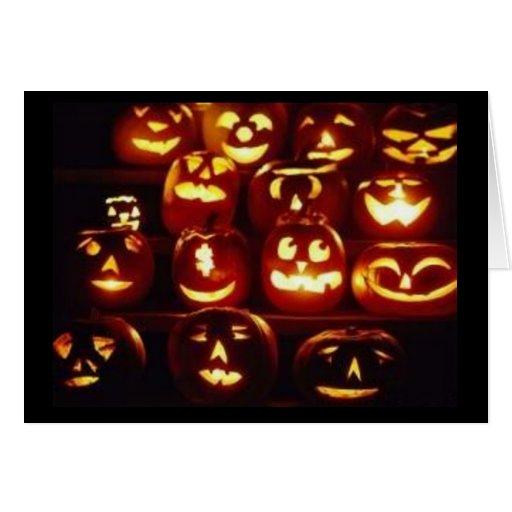 Tarjeta de Halloween de las expresiones de la
