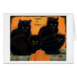 Tarjeta de Halloween de los gatos negros