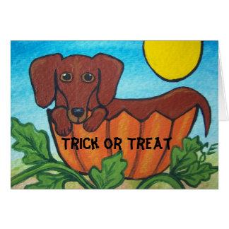 Tarjeta de Halloween del Dachshund del truco o de