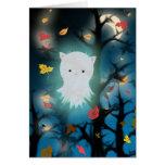 Tarjeta de Halloween del fantasma del gatito