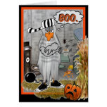 Tarjeta de Halloween del fantasma del pájaro de la