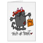 Tarjeta de Halloween del gato de Halloween del tru