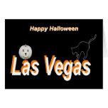 Tarjeta de Halloween del gato de la silueta de la