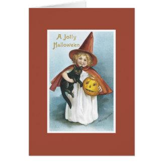 Tarjeta de Halloween del gato negro de la bruja