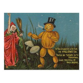 Tarjeta de Halloween del hombre de la calabaza del Postales