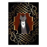 Tarjeta de Halloween del retrato del gatito del va
