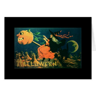Tarjeta de Halloween del vintage, bruja en la esco