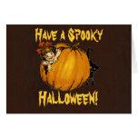 Tarjeta de Halloween del vintage de la calabaza,