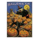 Tarjeta de Halloween del vintage del remiendo de