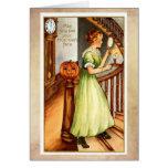 Tarjeta de Halloween del vintage, señora elegante