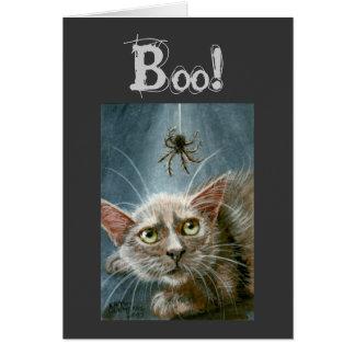 ¡Tarjeta de Halloween gato y araña abucheo